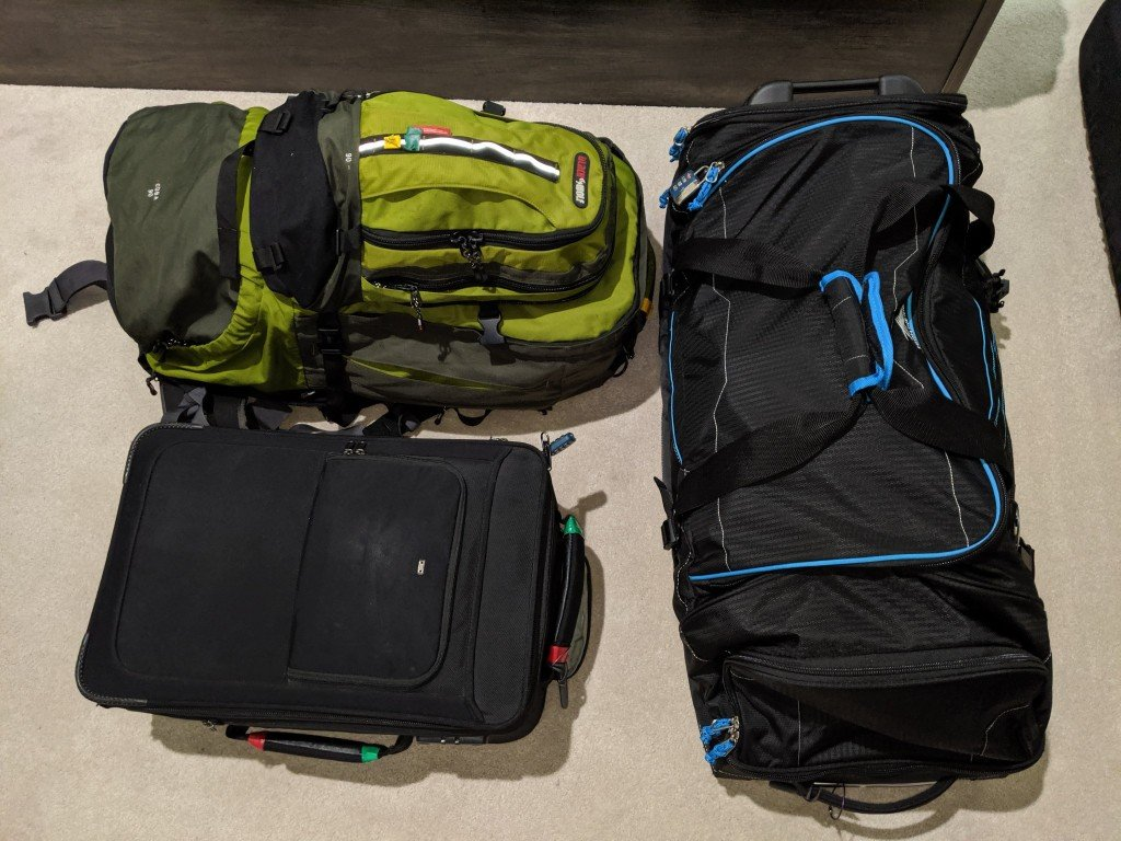 I switch between a backpack, small suitcase and a large duffle bag depending the trip