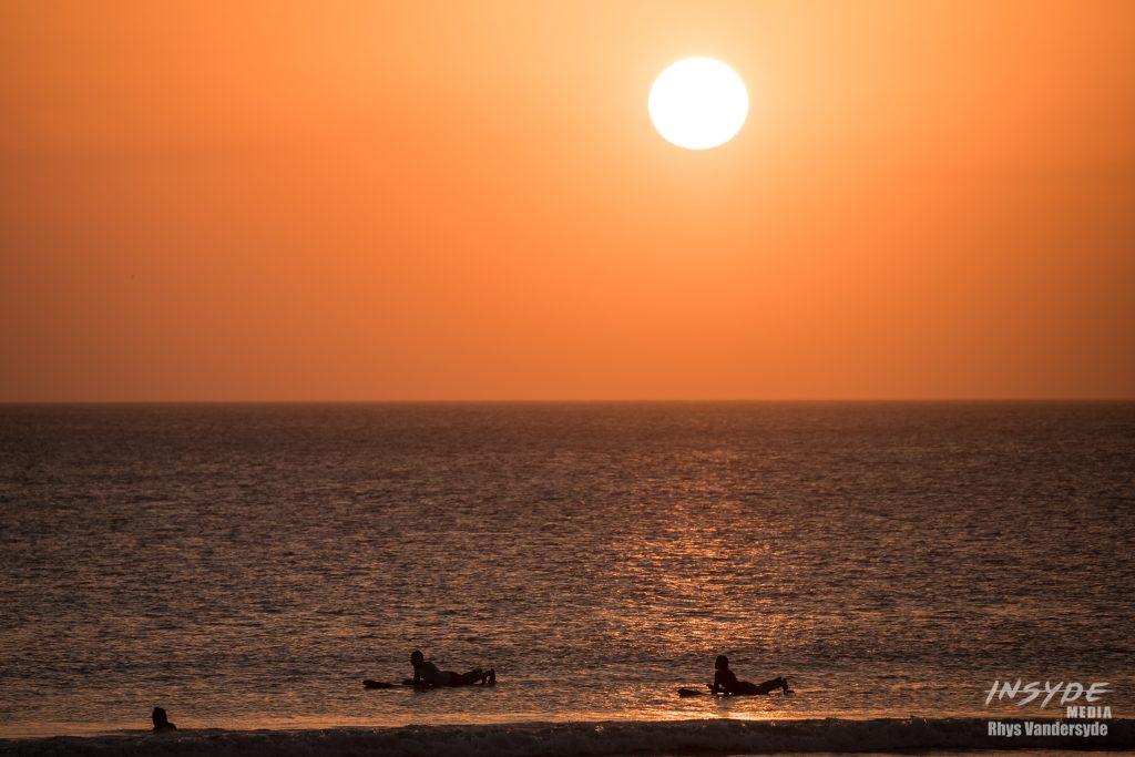 Surfing at Sunset on Kuta Beach